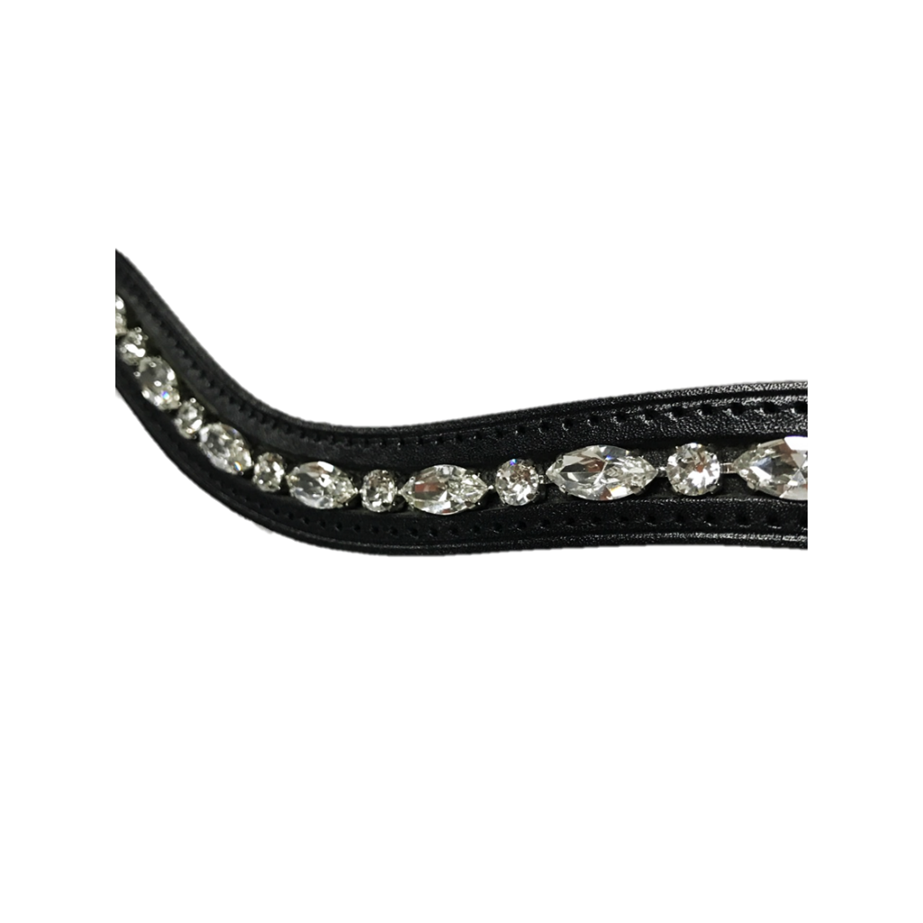 Navette Curved Browband with Clear Crystal
