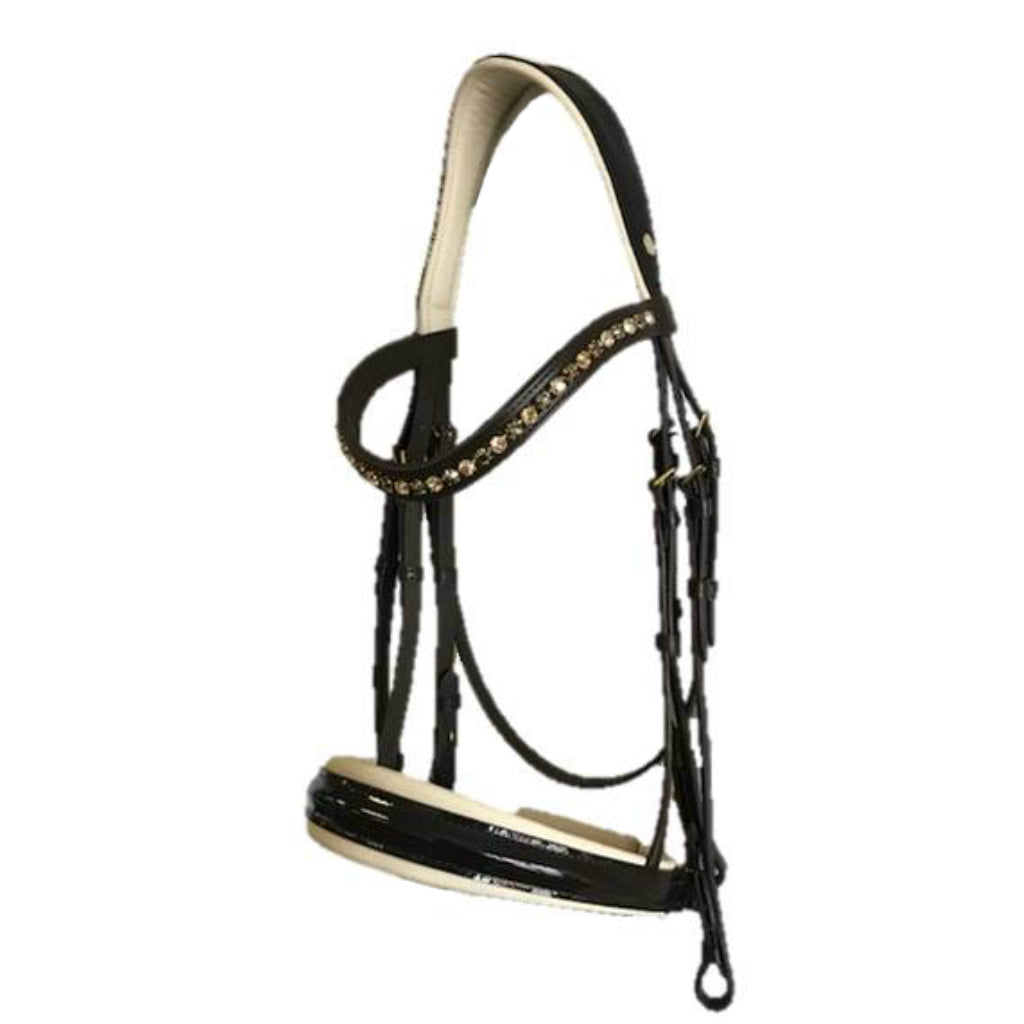 Tokyo Anatomical Patent Leather Double Bridle - Brown and Cream