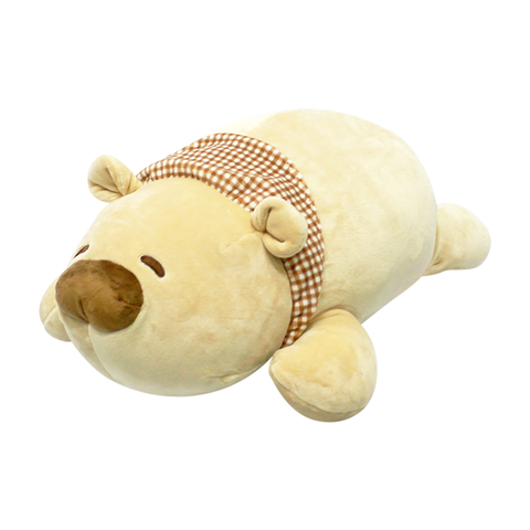 Bear with Checkered Scarf Lying Position Plush