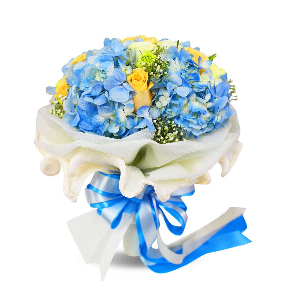 Lovely Bouquet Of Hydrangea, Rose, Lisianthus and Gypso - April Flora