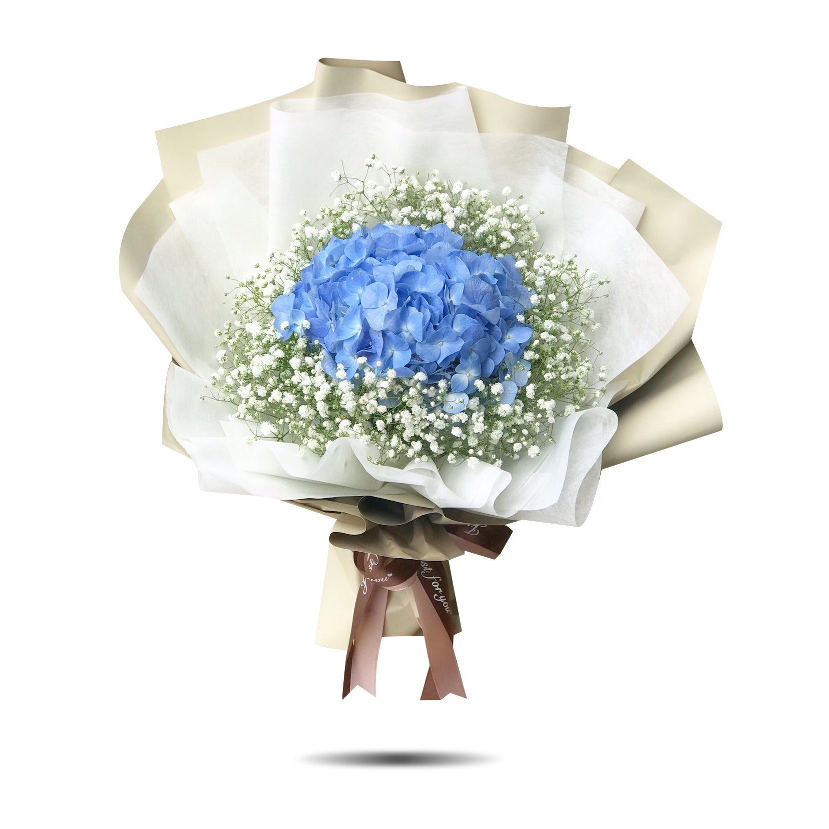 """Blue Love"" bouquet of blue hydrangea and white gypso"