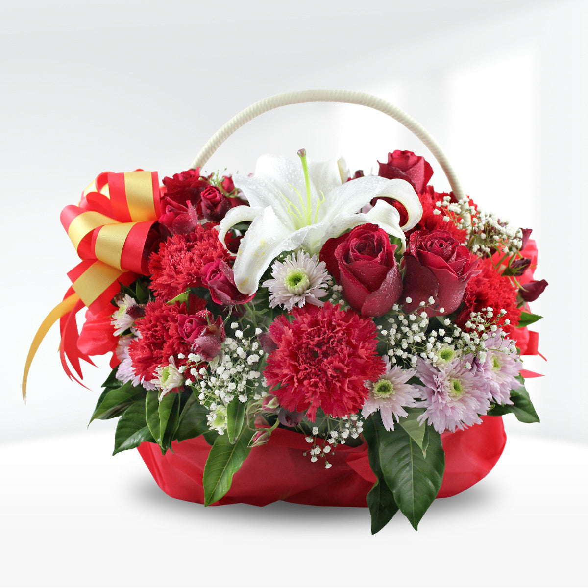 """Red Passion"" Basket Of Flowers - April Flora"