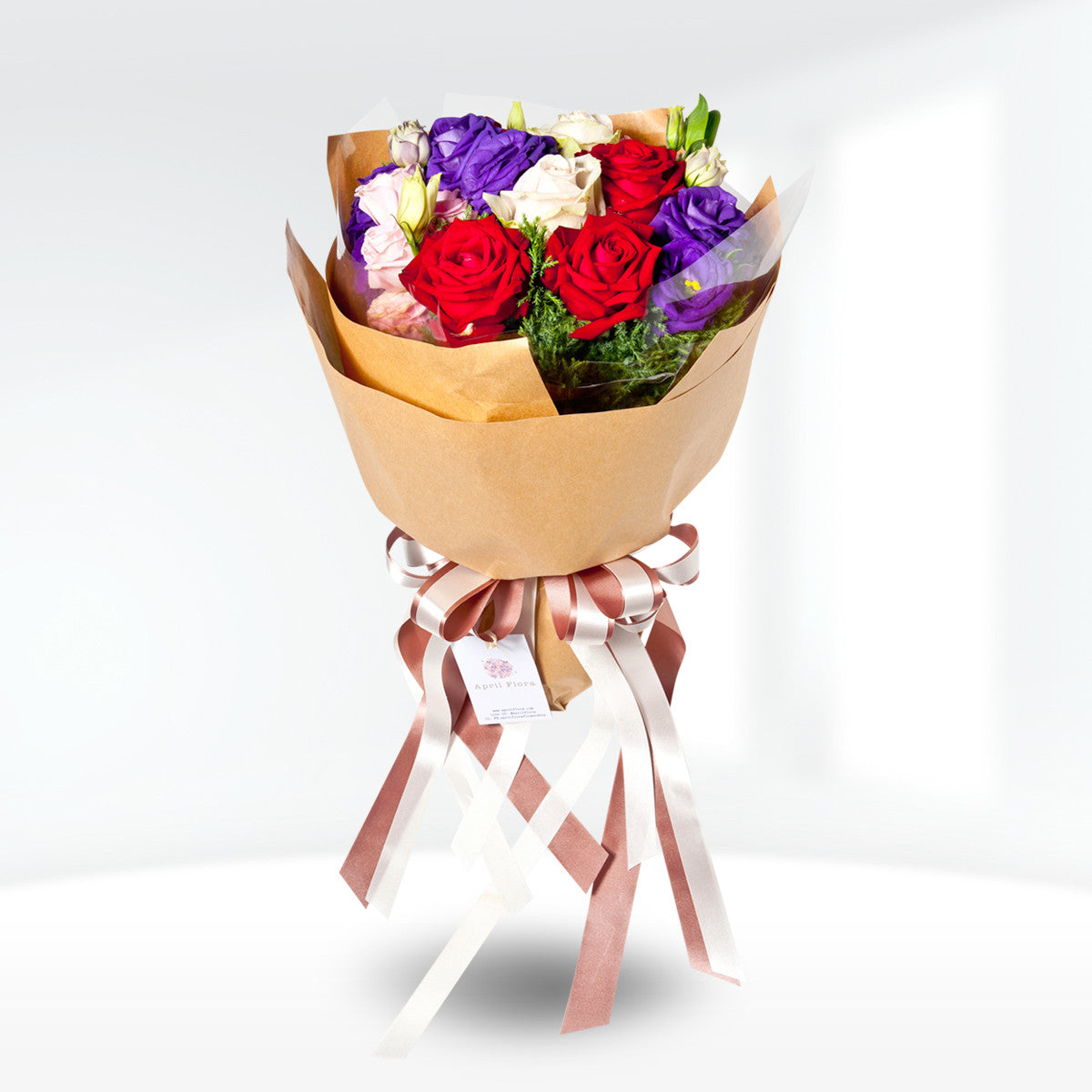 Multicolour Bouquet Of Roses And Lisianthus