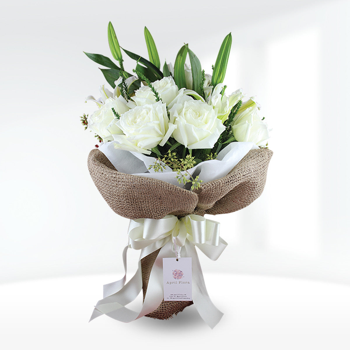 Cute Bouquet Of White Roses And Lilies - April Flora