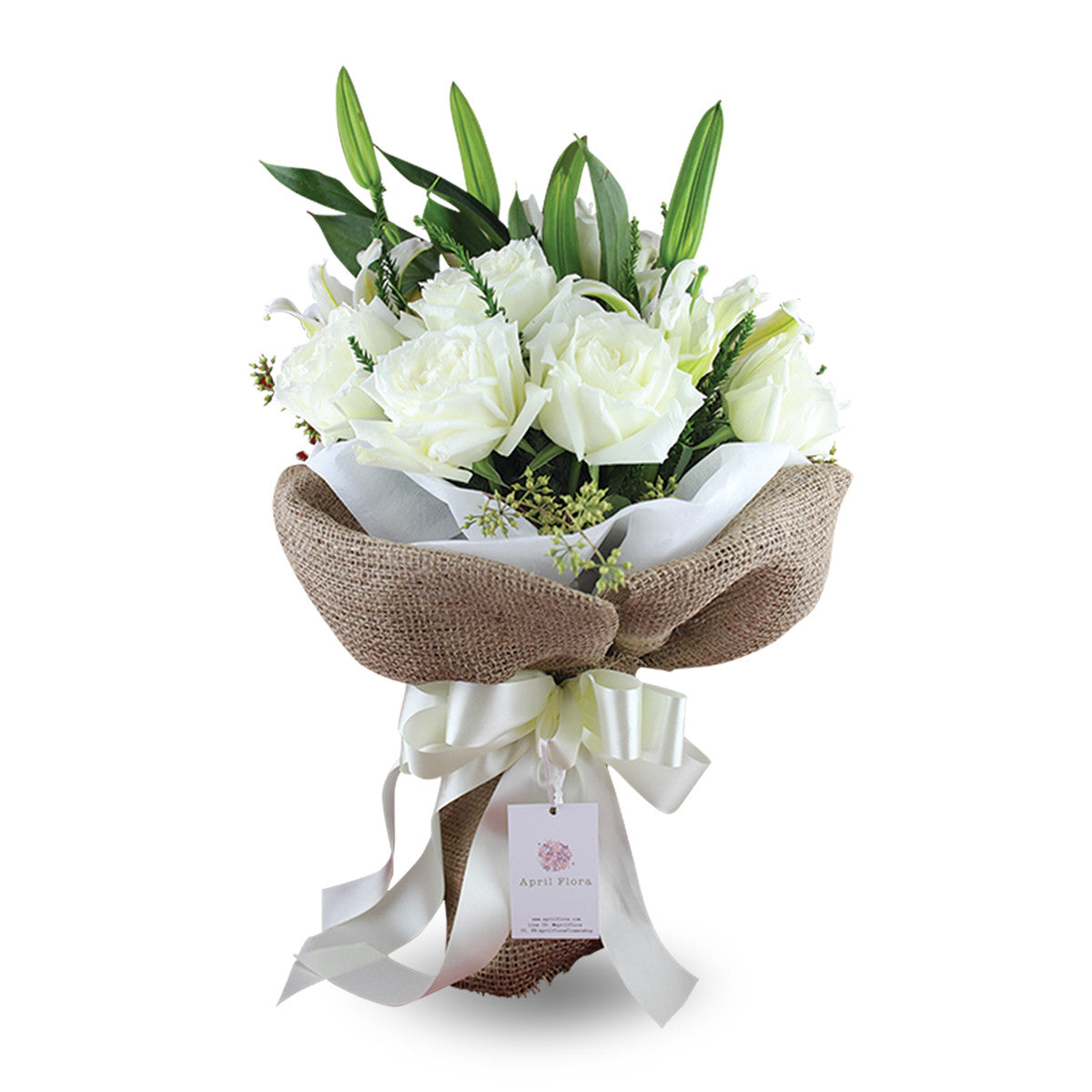Cute Bouquet Of White Roses And Lilies