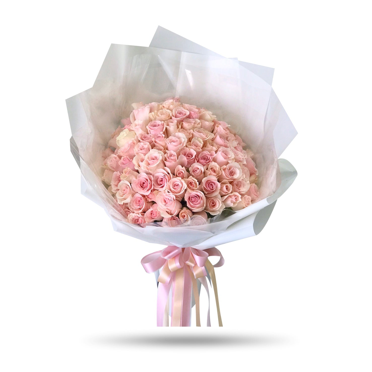 One Hundred Romantic Pink Roses Bouquet