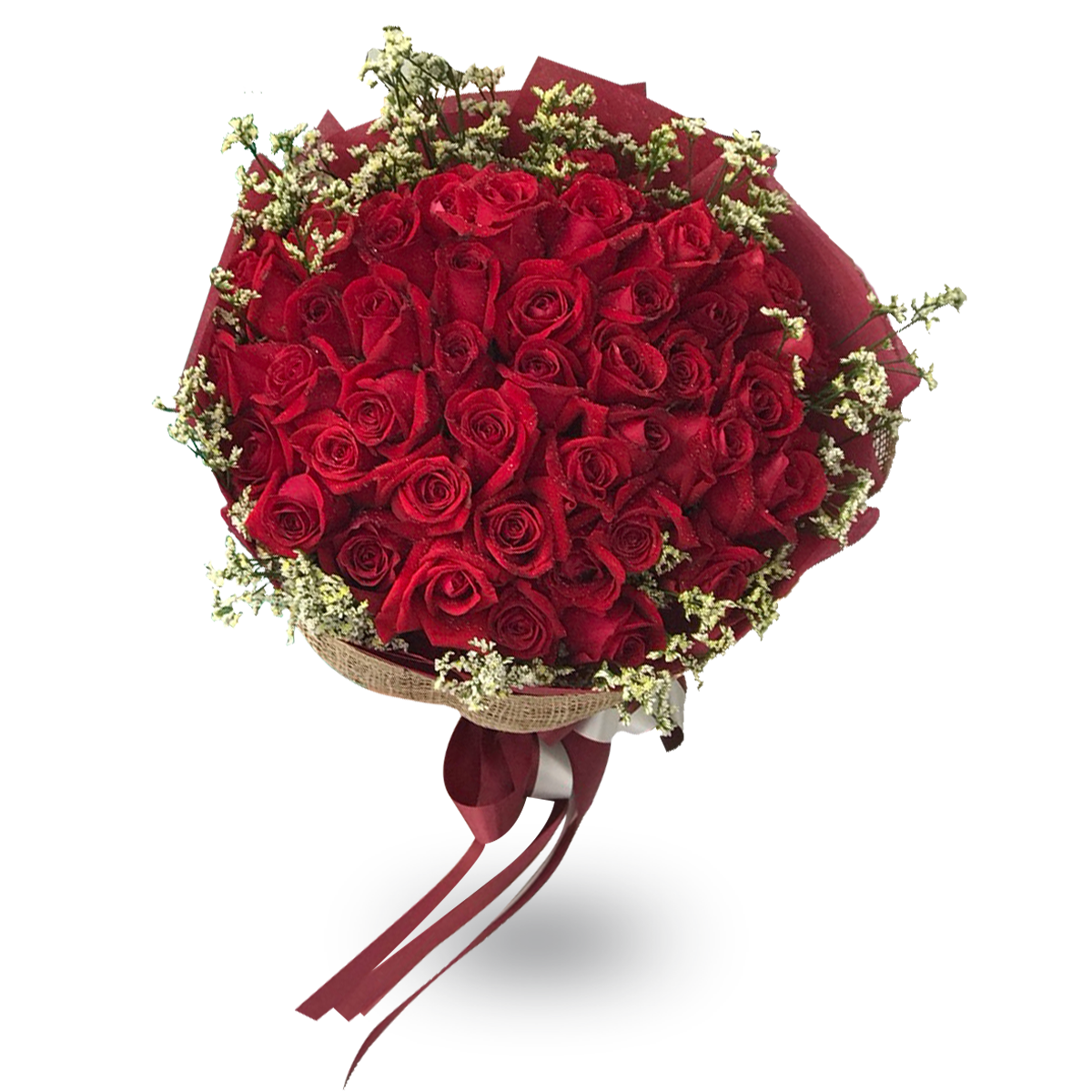 Elegant Bouquet Of 50 Red Roses