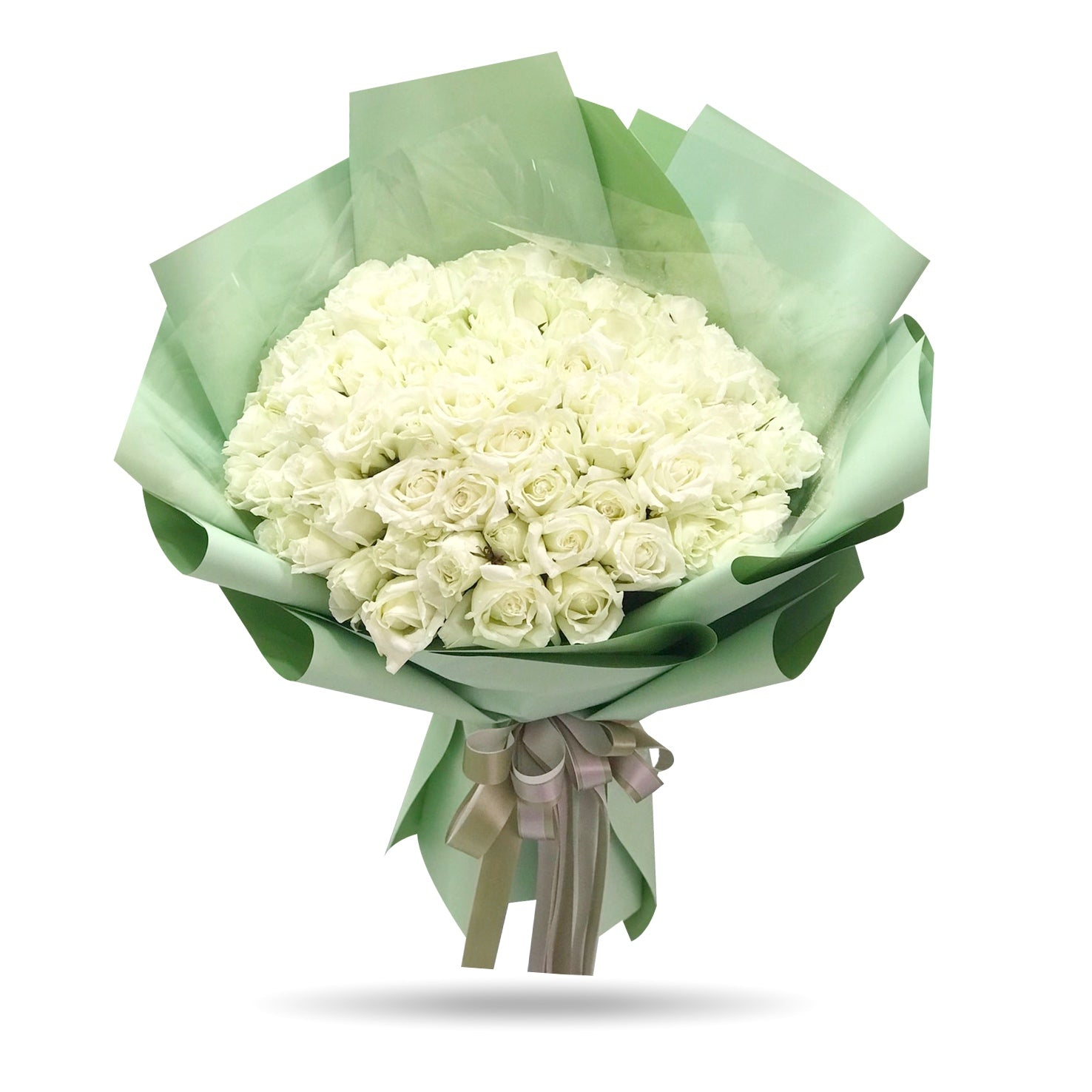 Bouquet of 100 stunning white roses