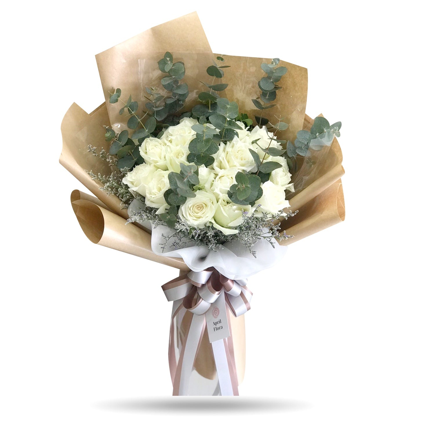 20 white roses vintage style bouquet - April Flora