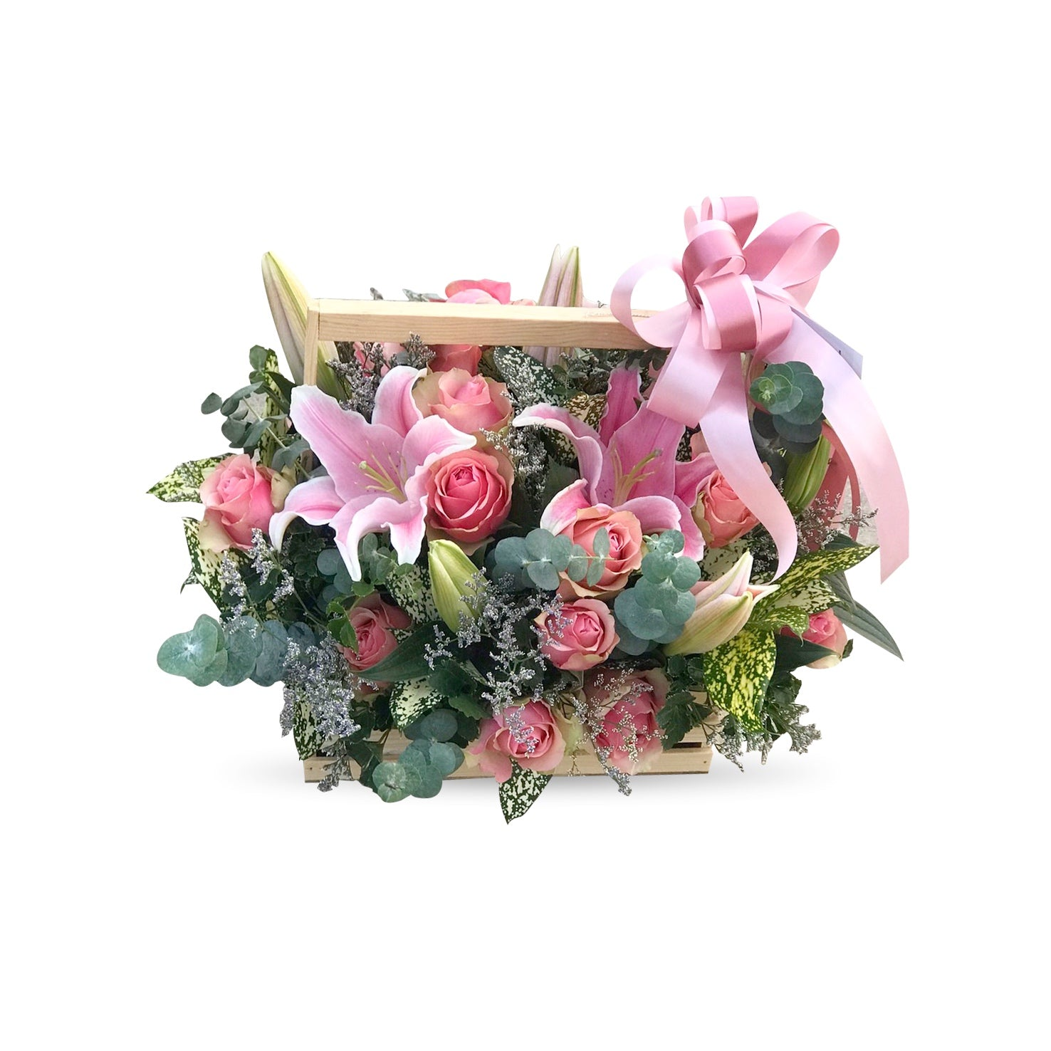 Vintage mixed pink flowers basket