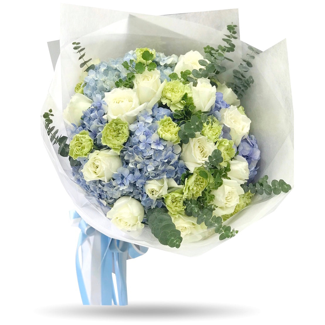 Classic mixed blue hydrangea with white roses