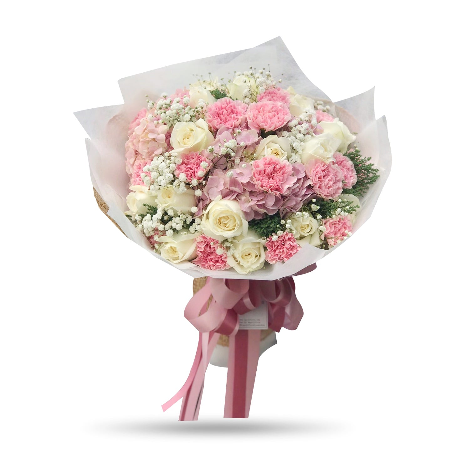 Lovely mixed pink carnations, white roses Bouquet - April Flora