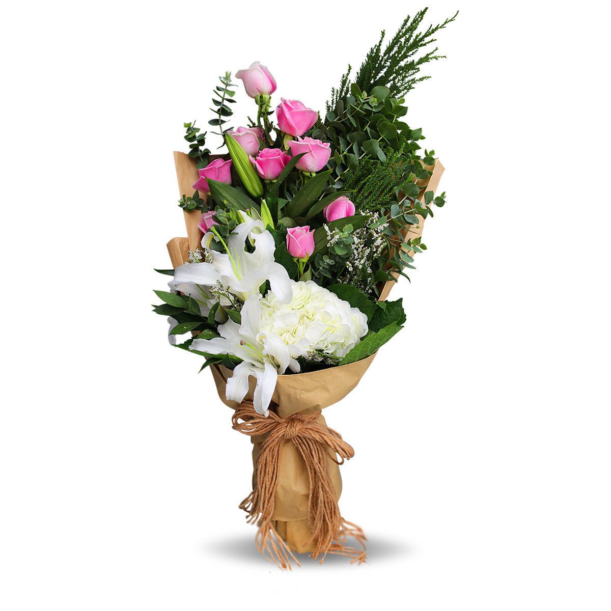 Gorgeous Bouquet Of Roses, Lilies And Decorative Leaves