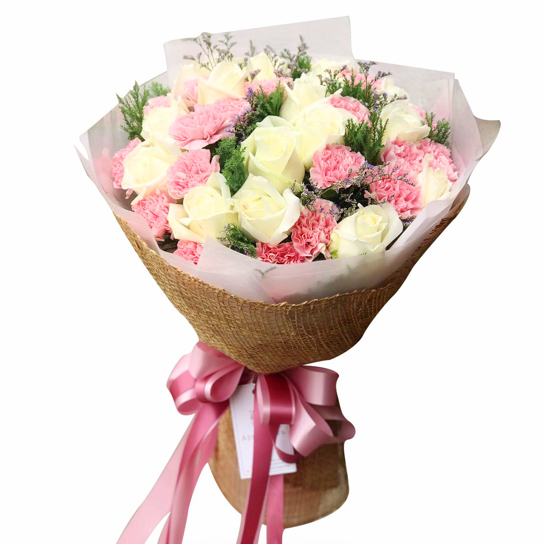 Girly Bouquet Of Roses, Carnation And Caspia