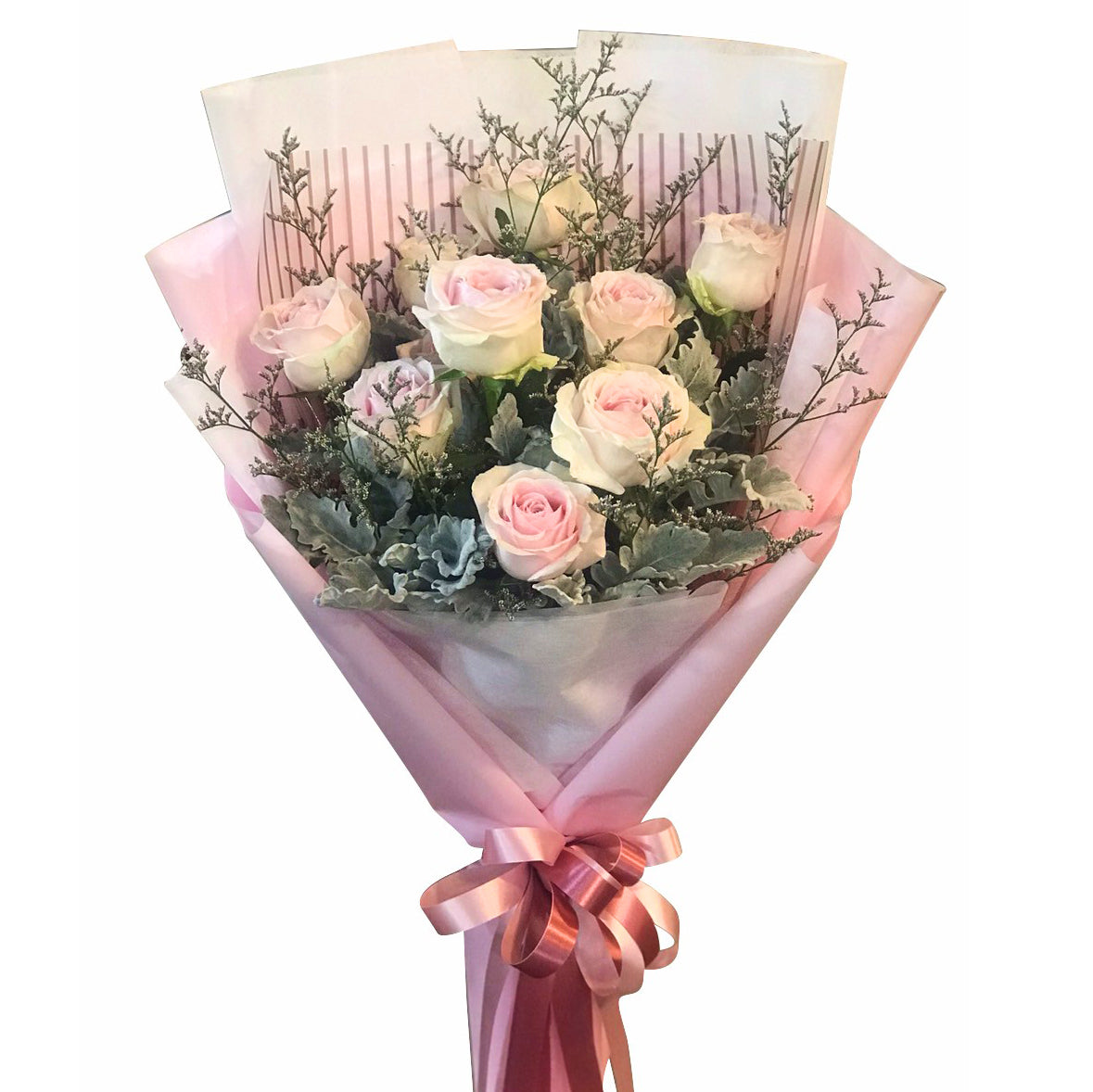 Bouquet Of 10 Dusty Pink Roses - April Flora