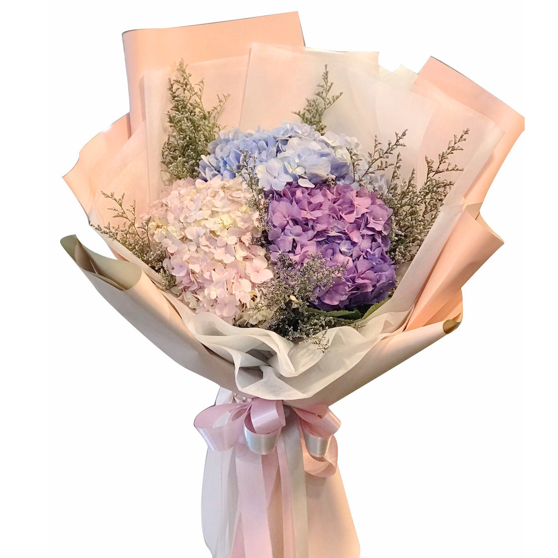 Three Shades Bouquet Of Hydrangea