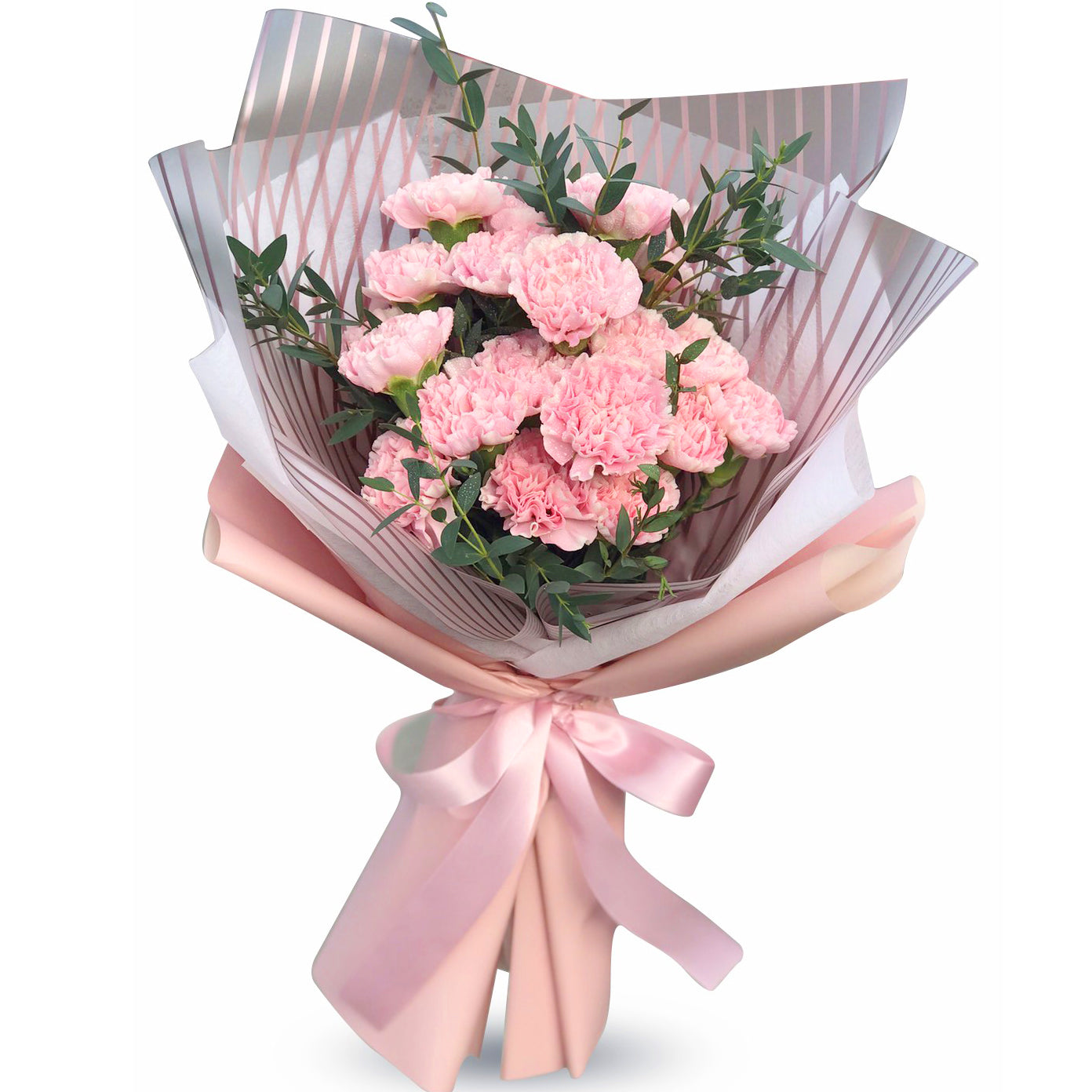 All Pink Fluffy Bouquet Of Carnations
