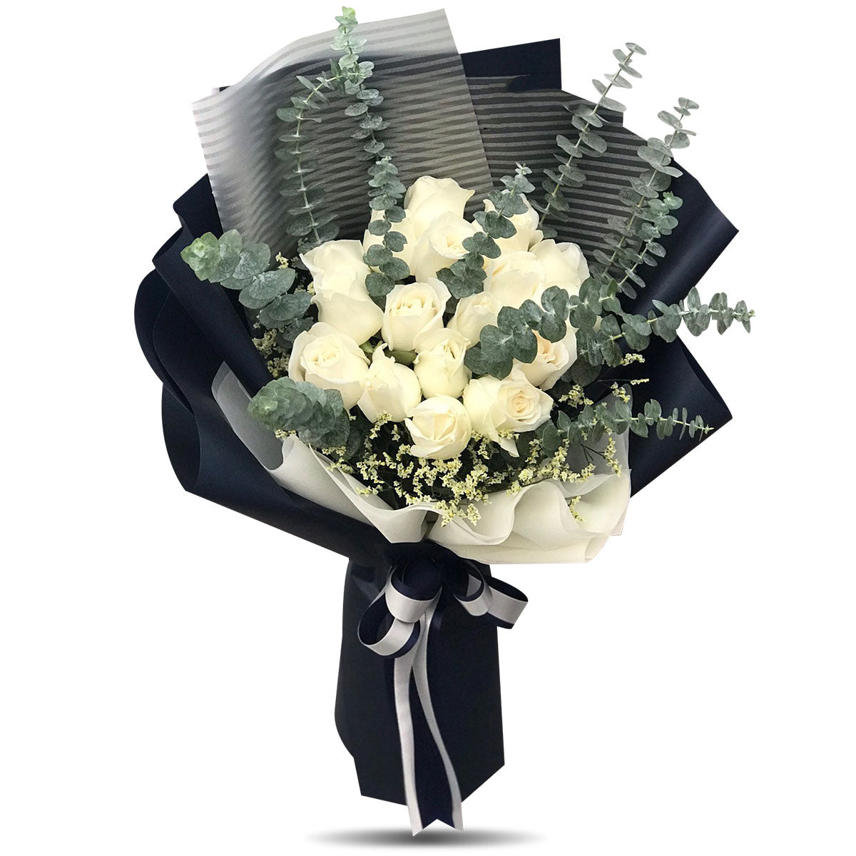 Large Bouquet Of Pure White Roses - April Flora