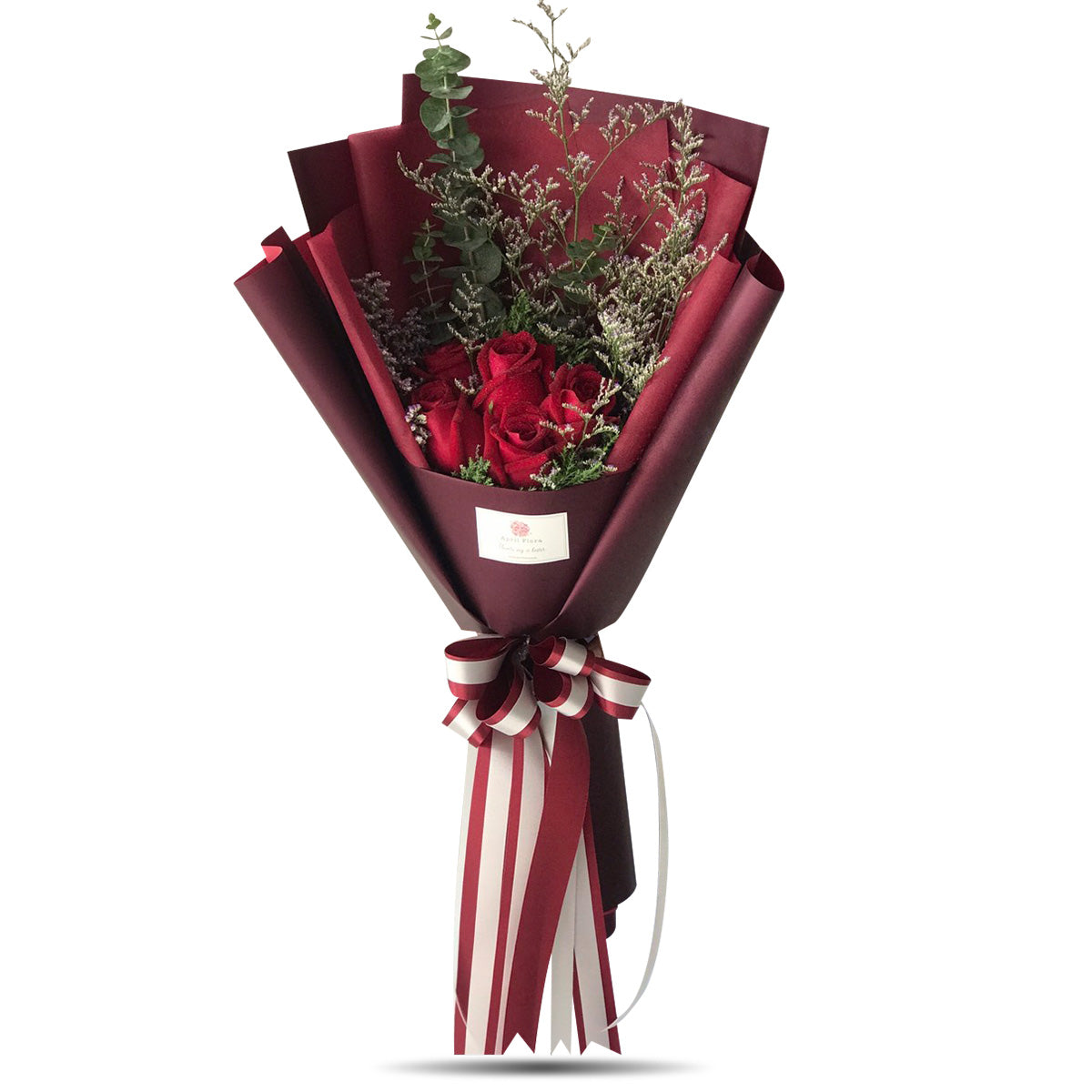"""Love Sign"" Bouquet Of 5 Red Roses - April Flora"