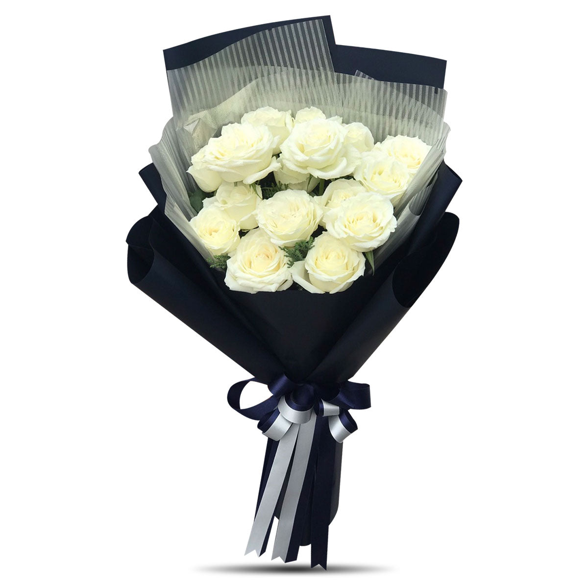 Splendid Bouquet Of 15 White Roses