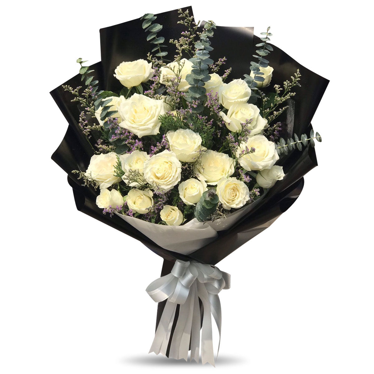 Large Bouquet Of 20 White Roses - April Flora