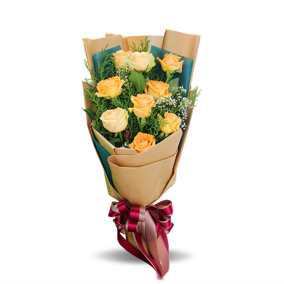 Sunny Bouquet Of Yellow Roses - April Flora