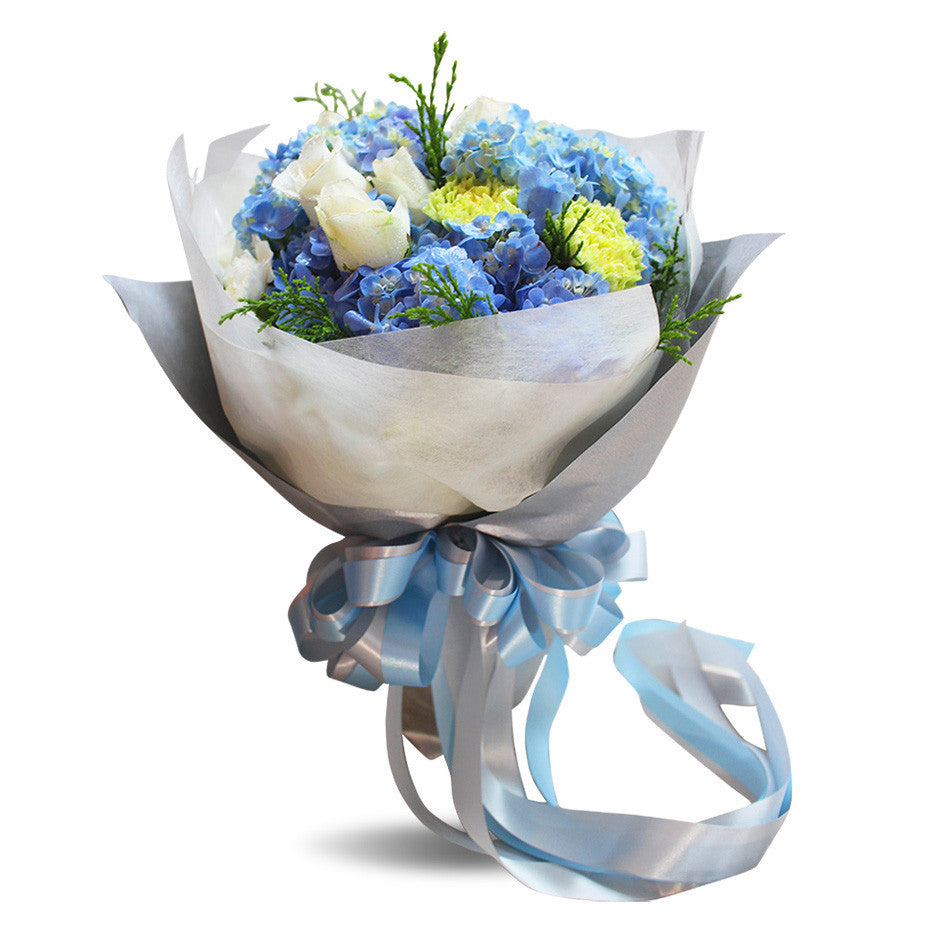 """Shades Of Blue"" Bouquet With Roses, Hydrangea And Carnation - April Flora"