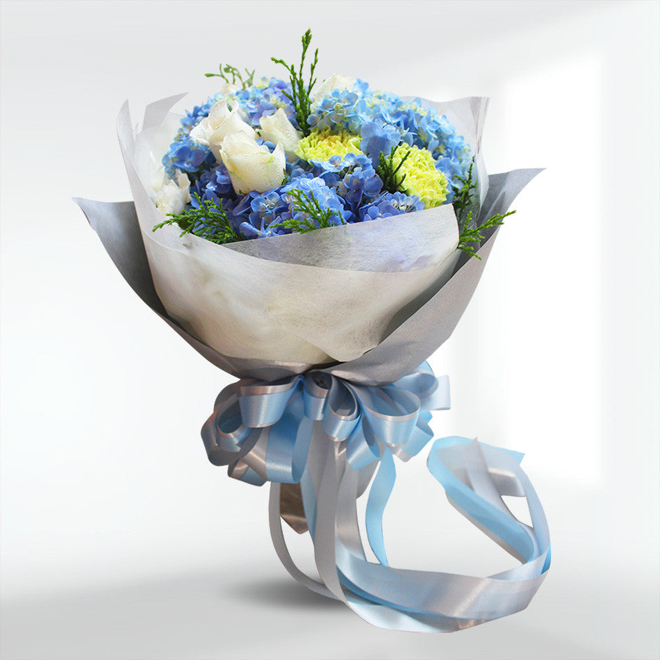 """Shades Of Blue"" Bouquet With Roses, Hydrangea And Carnation"