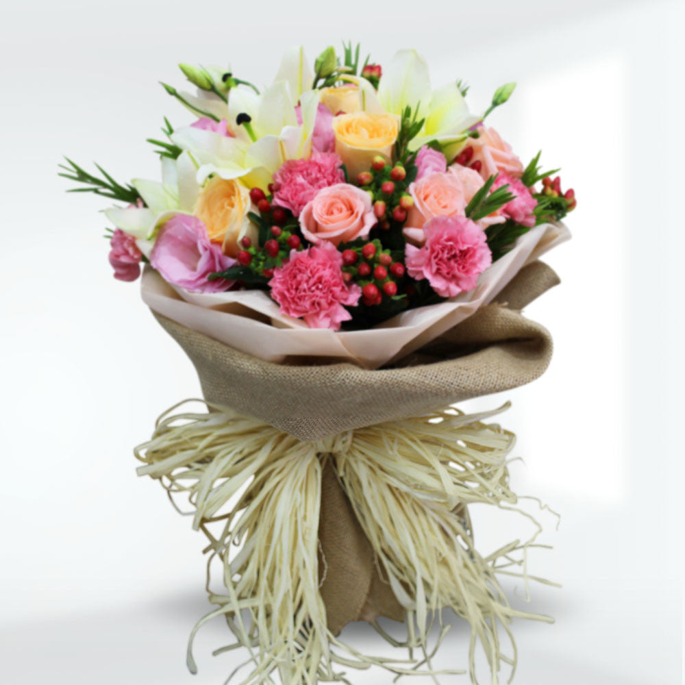 Tender Bouquet Of Lilies And Roses
