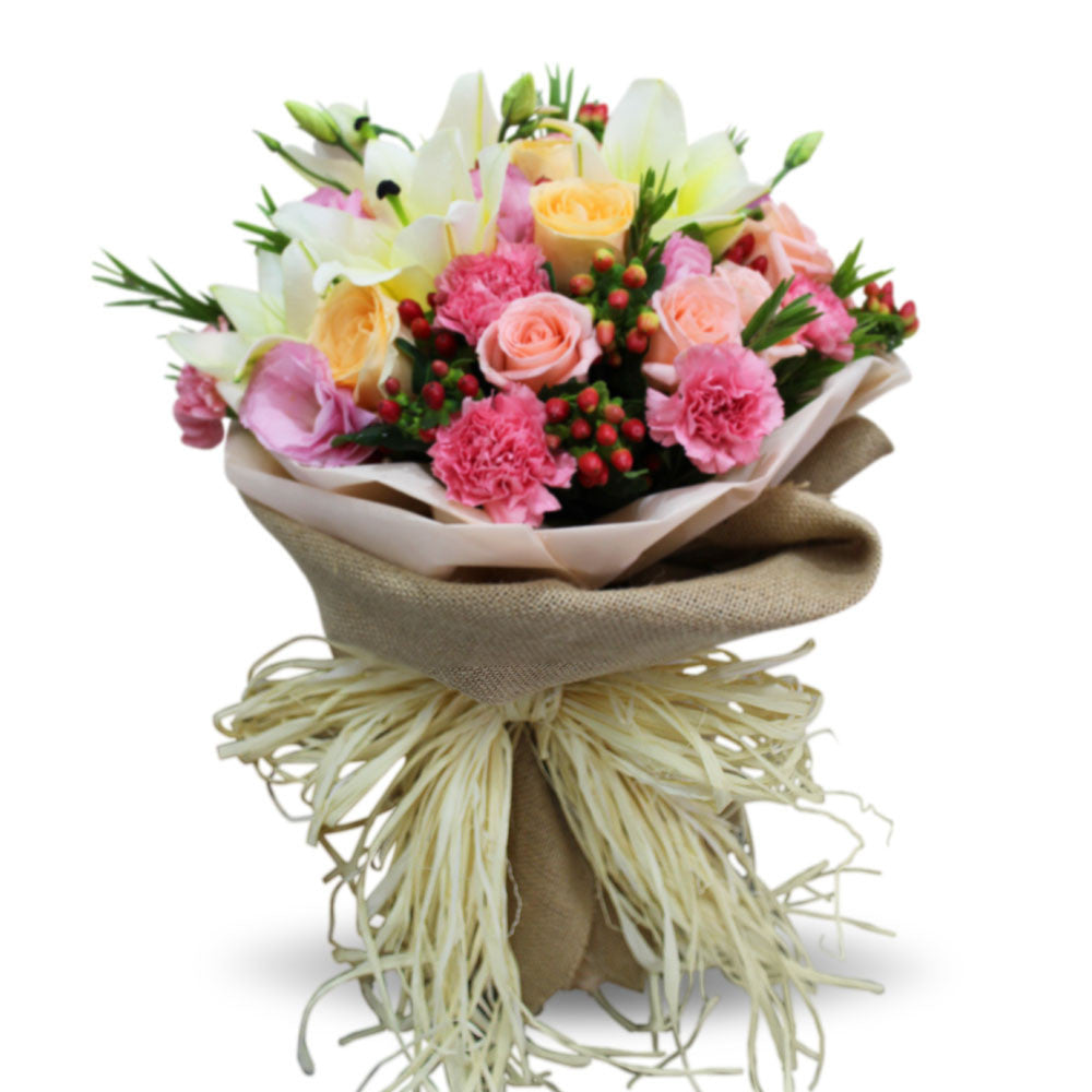 Tender Bouquet Of Lilies And Roses - April Flora