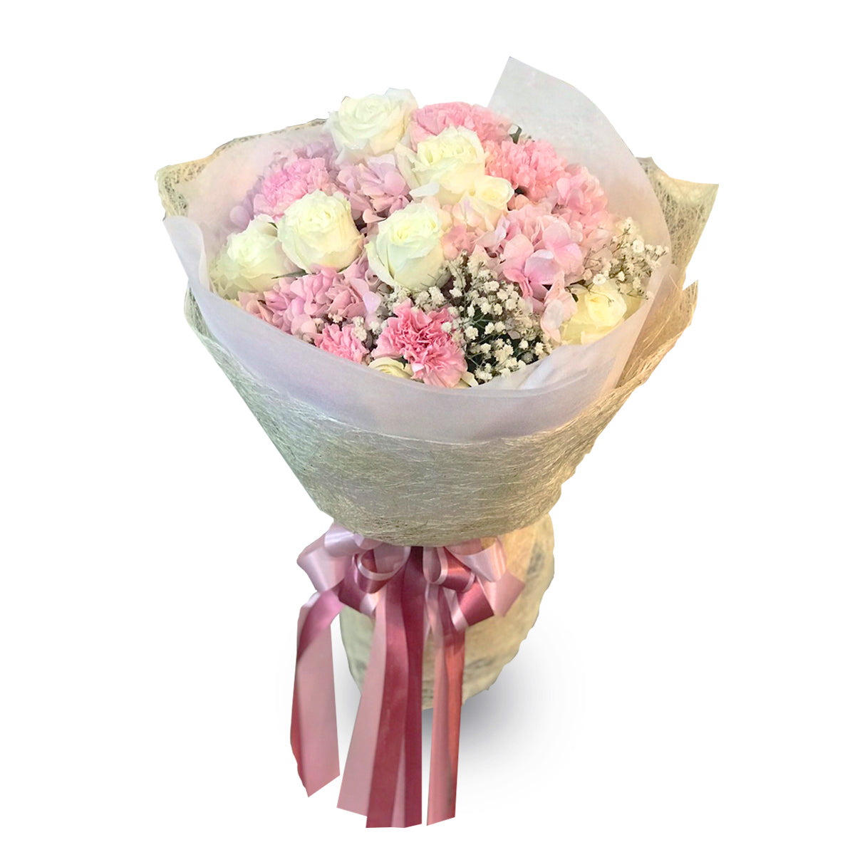 Romantic Bouquet With Roses, Carnation And Hydrangea