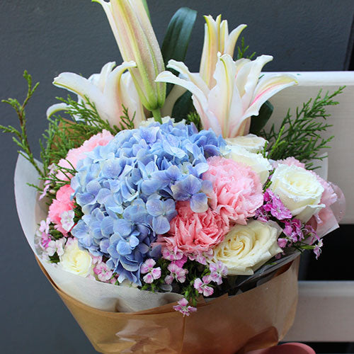 Chic Mix Bouquet Of Hydrangea, Lily, Rose And Carnation