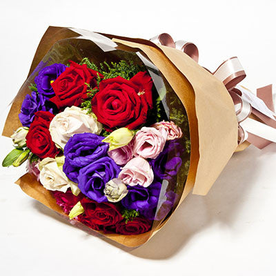 Multicolour Bouquet Of Roses And Lisianthus - April Flora