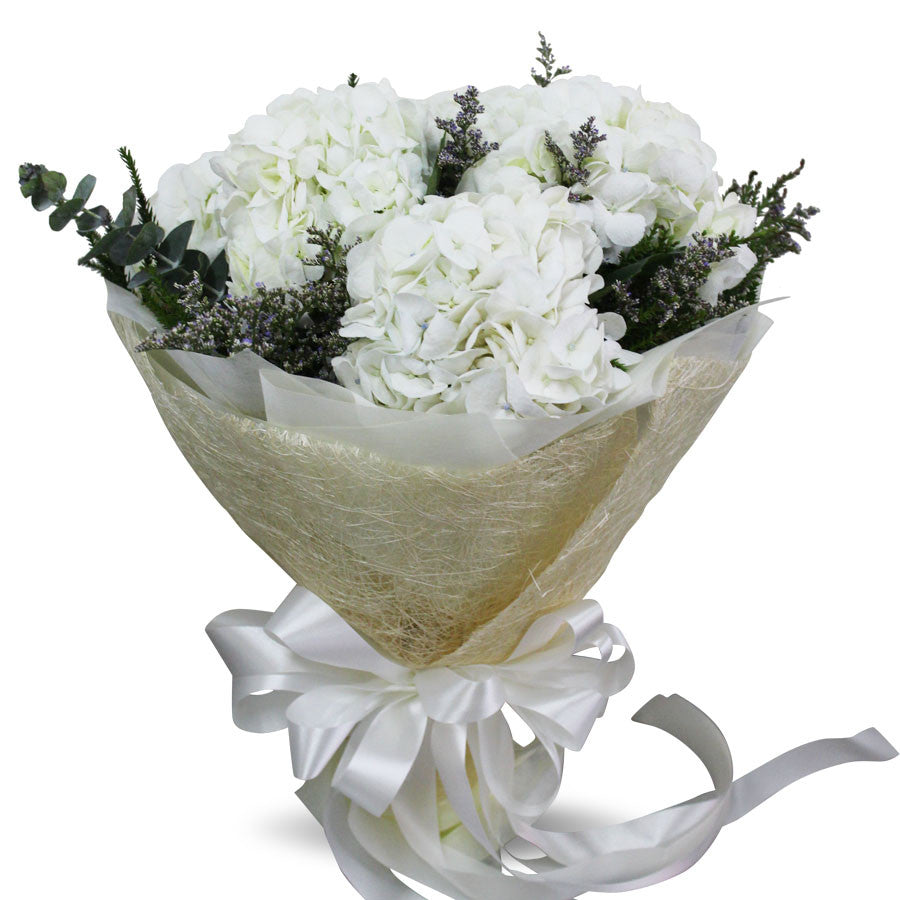 Simply Elegant Bouquet Of White Hydrangea - April Flora