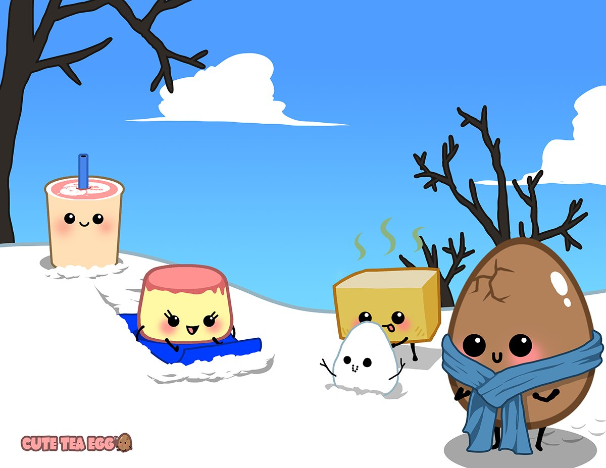 Cute Tea Egg and Friends in the snow! Follow us for more stories and comics at @cuteteaegg