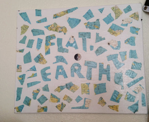 "Flat Earth Mosaic, 18"" x 24"" Globe on Canvas"