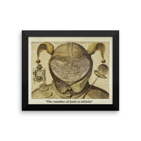 Fool's Cap Map of The World, Framed photo paper poster