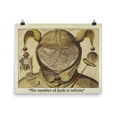 "Fool's Cap Map of The World,  16"" x 20"" Poster ""The number of fools is infinite"""