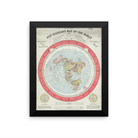 GLEASON'S FLAT EARTH MAP, FRAMED POSTER PRINTS.