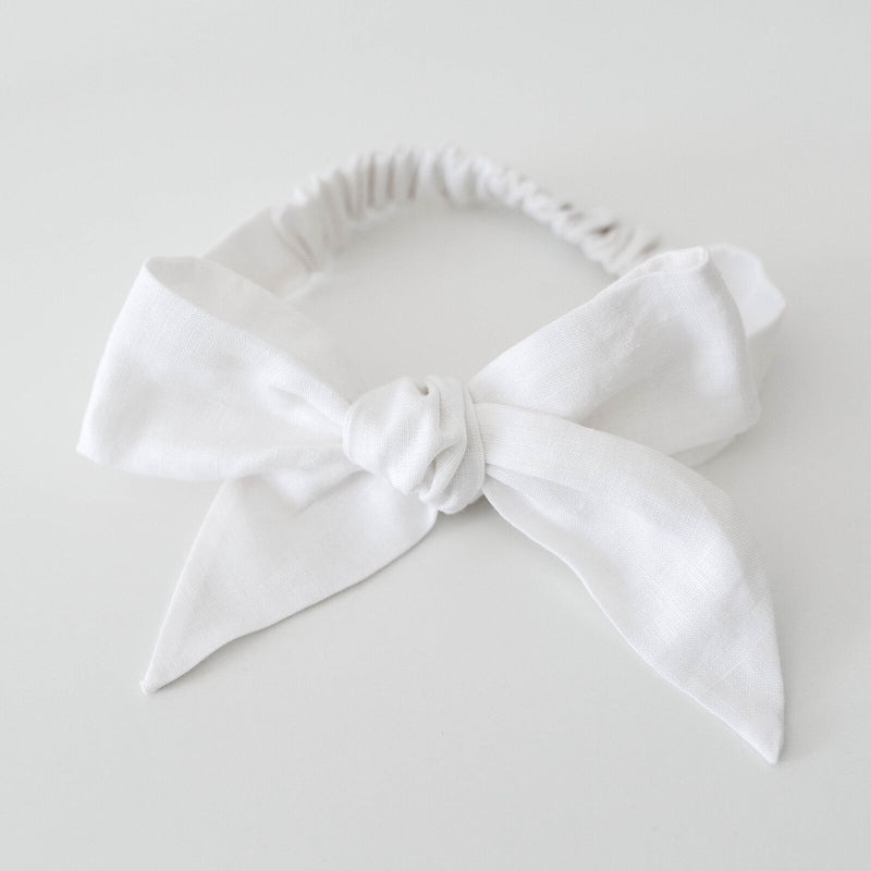 Snuggle Hunny Kids Pre-Tied Headband Wrap - White Linen Bow
