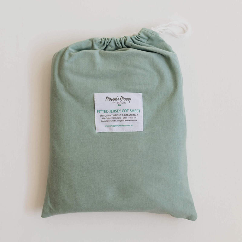 Snuggle Hunny Kids Fitted Cot Sheet - Sage