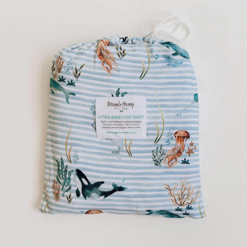 Snuggle Hunny Kids Fitted Cot Sheet - Whale