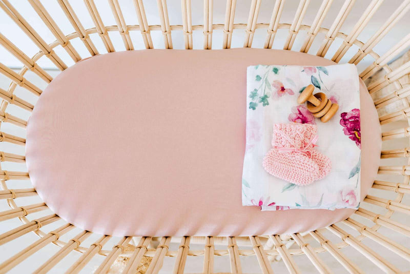 Snuggle Hunny Kids Fitted Bassinet Sheet - Lullaby Pink