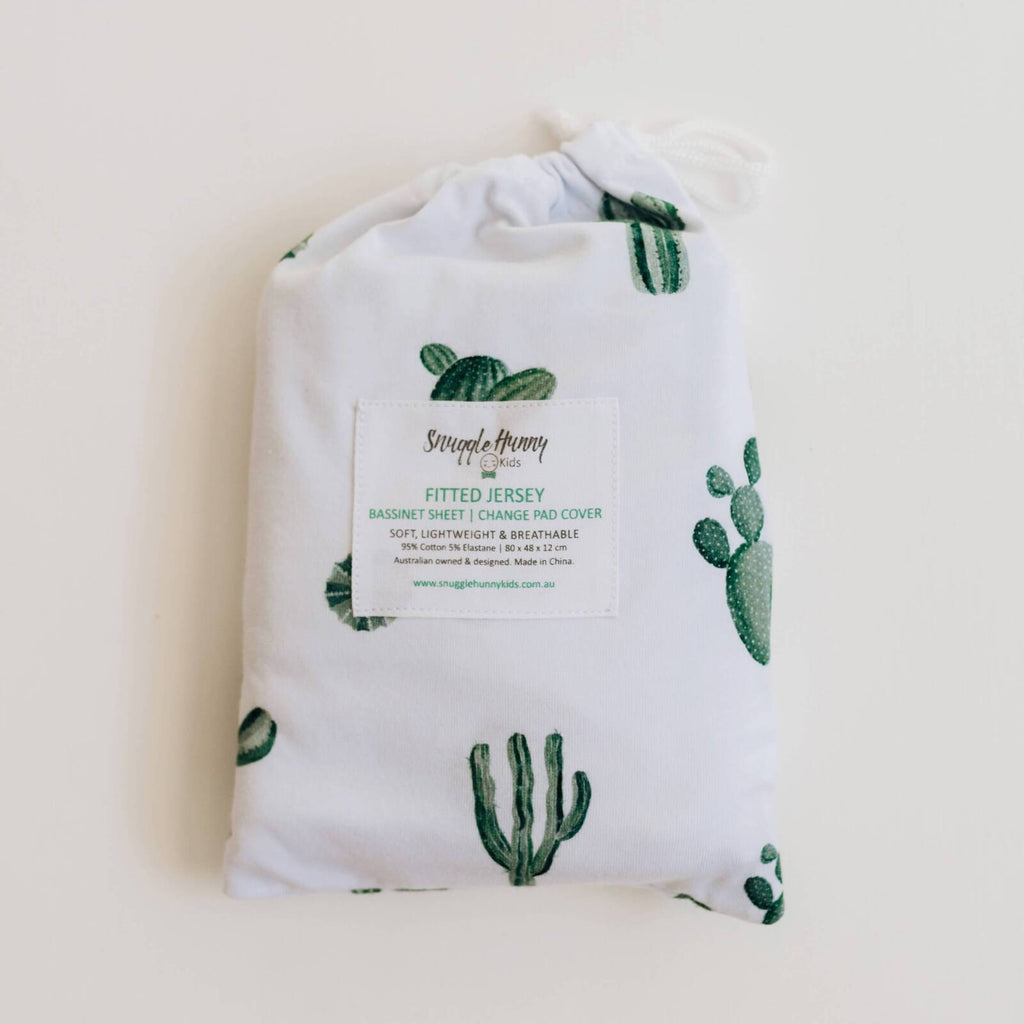 Snuggle Hunny Kids Fitted Bassinet Sheet - Cactus