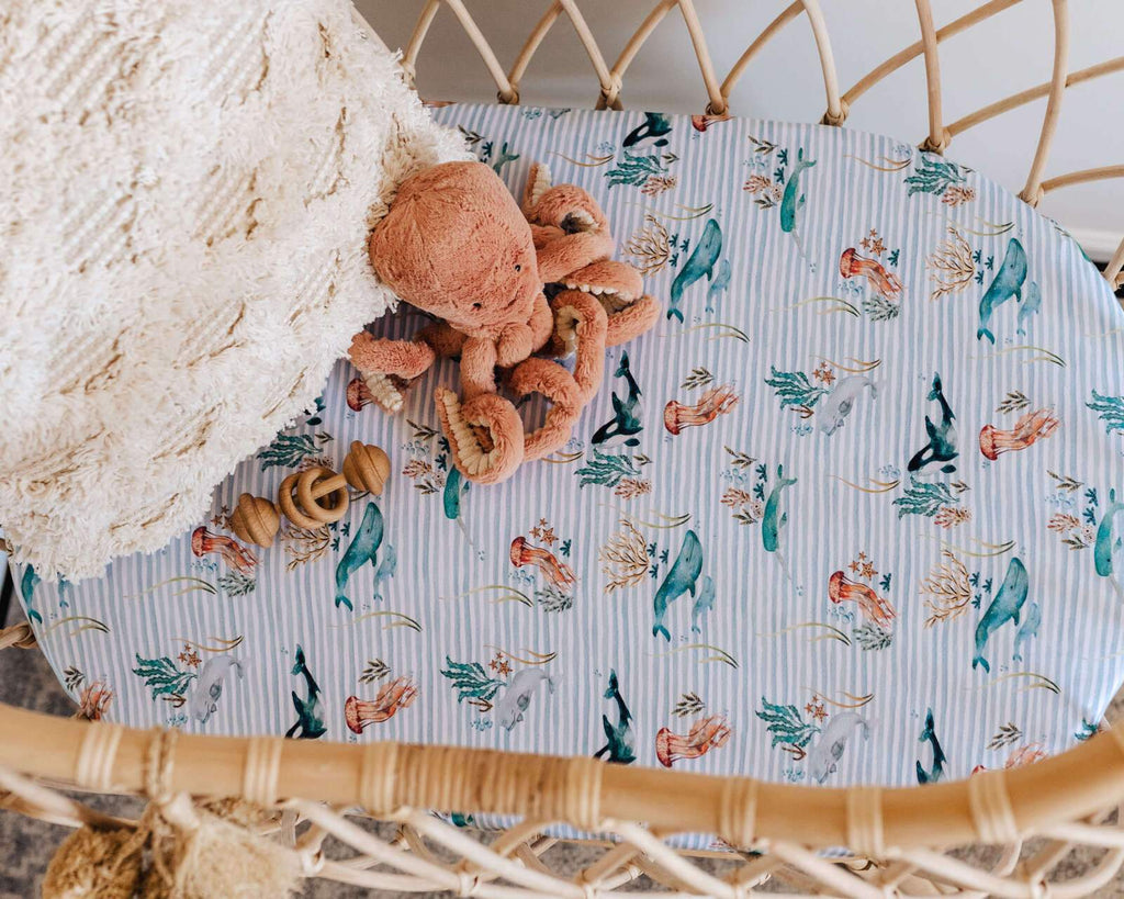 Snuggle Hunny Kids Fitted Bassinet Sheet - Whale