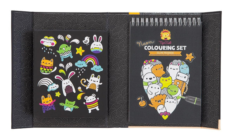 Tiger Tribe Neon Colouring Set- Glow Friends