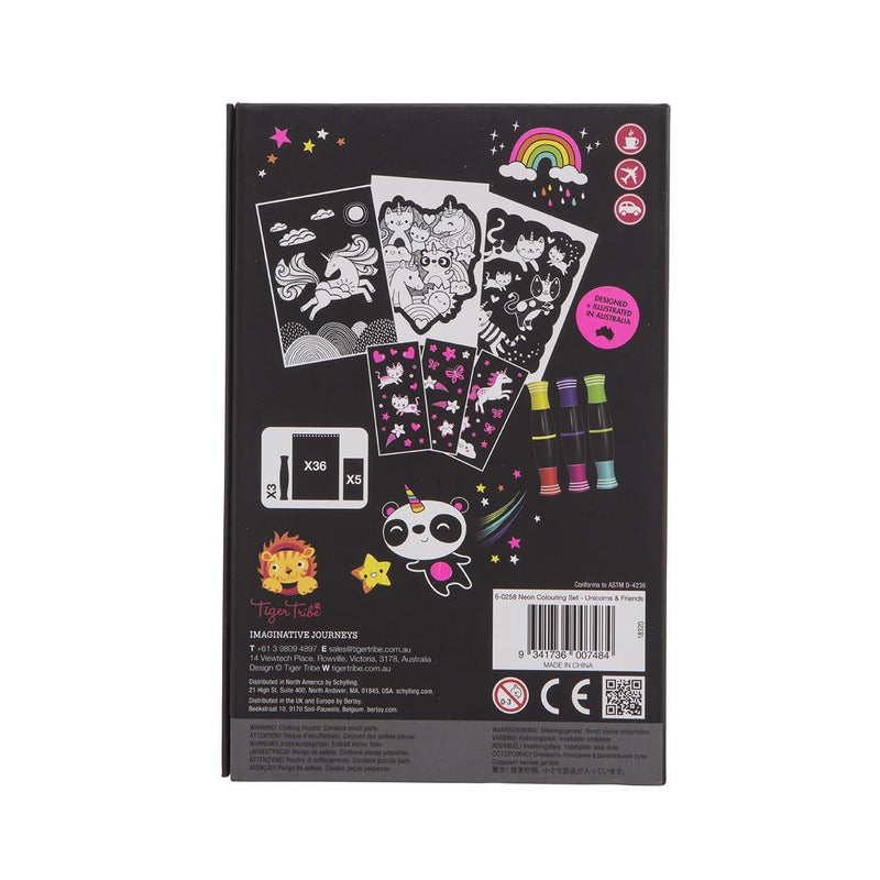 Tiger Tribe Neon Colouring Set- Unicorns And Friends