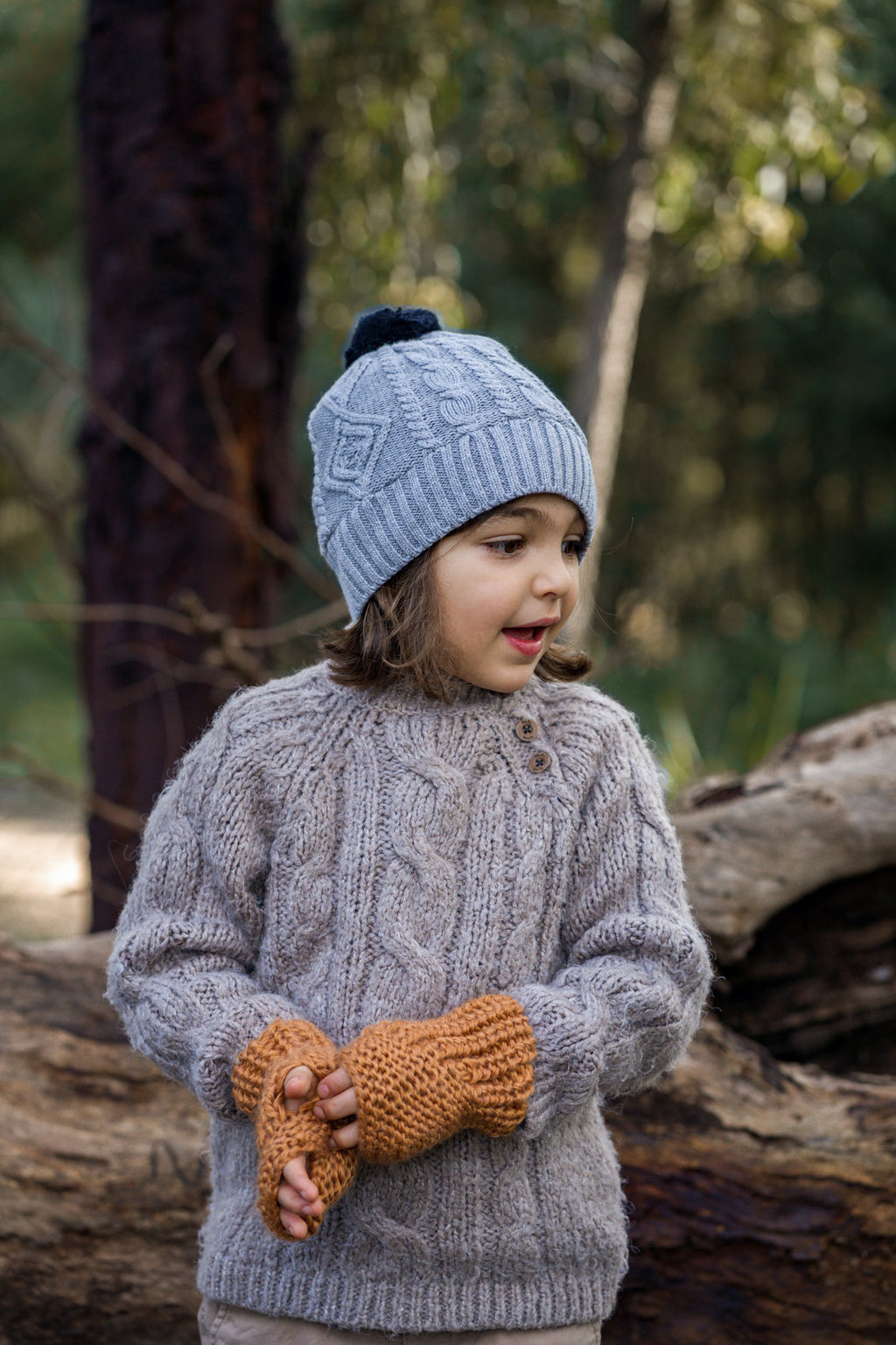 Acorn Kids Cable Knit Beanie - Grey & Navy