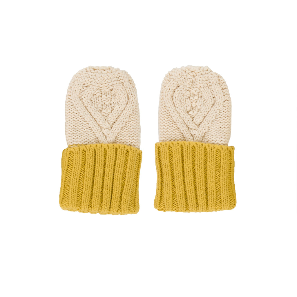 Acorn Kids Cable Knit Mittens - Oatmeal & Mustard