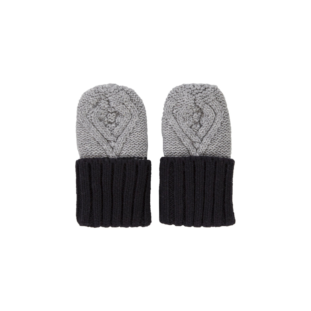 Acorn Kids Cable Knit Mittens - Grey & Navy